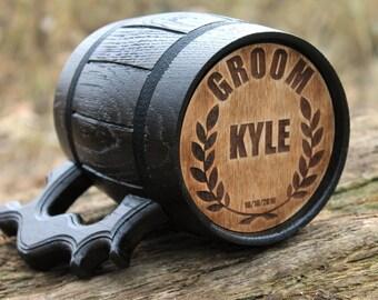 Personalized Beer Mug, Wooden Beer mug, Groomsman gift, Groom Mug, Tankard, Chope à bière bois, Wood Beer Mug, Holz Bierkrug, Tankard, Mug,