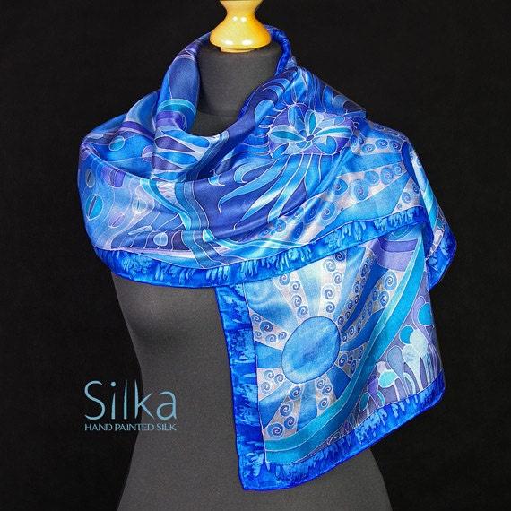 Blue silk scarf, Hand painted silk scarf, silk scarf, blue scarf,  gift for her, handmade scarf, unique art, unique silk scarf, silk shawl
