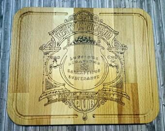 Harry Potter Cutting Board, The Leaky Cauldron Wood Burning