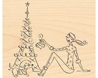 Penny Black Parisian Christmas Rubber Stamp