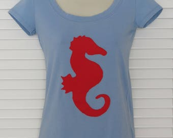 Upcycled Women's Blue Shortsleeve T Shirt with Red Seahorse Size S
