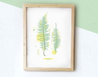 Botanical poster - fern DRYOPTERE #FERN - 2 - |  Botanical & graphic print limited edition