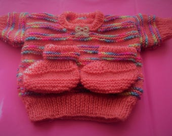 Hand knitted Baby Jumper & Booties 0-3 months -