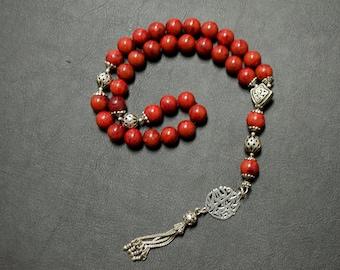 Natural Red Coral - Rosary- Misbah-Tesbih- Islamic