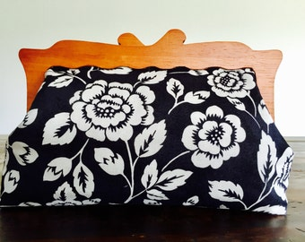 Large Fabric Clutch Purse with Wooden Handle