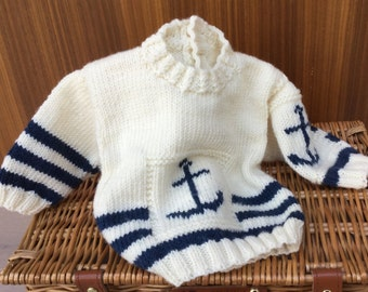 Hand knitted baby sweater- navy & cream jumper with anchor motif -3-6   months -baby clothes- merino baby  sweater- baby gift - CUSTOM MADE