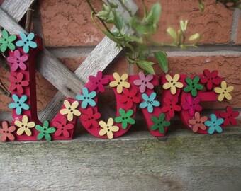 Flower love sign, Love ornament, summer flowers,