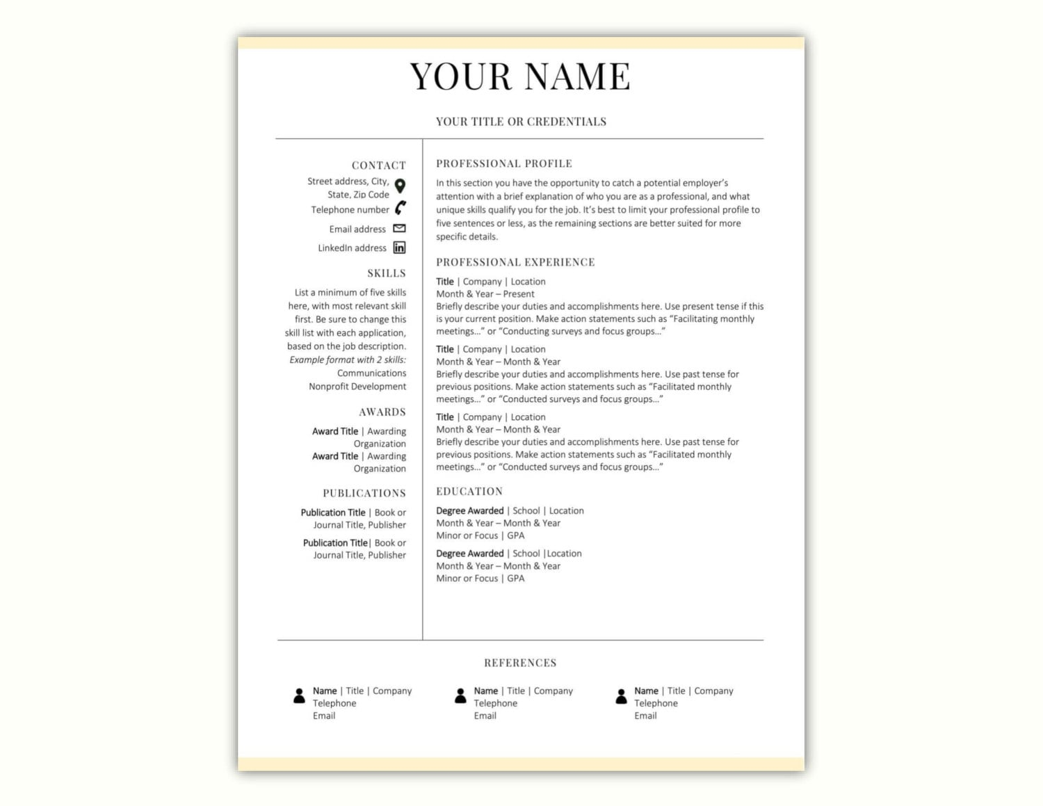 Minimal Resume Template CV Template Word Resume Template CV