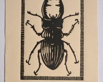 """Stag Beetle - Woodblock Print, 7x11"""""""