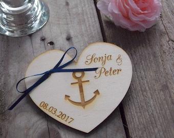 Wooden ring bearer 'anquor' - Wedding, ring bearer pillow, rings, wedding decoration, wedding accessoire, ring pillow