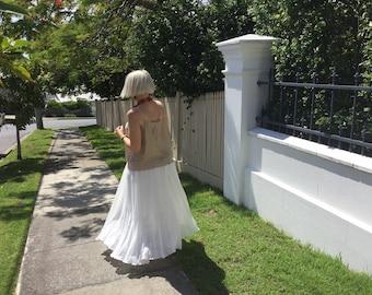 White flowing maxi polished cotton linen skirt  resort wear summer wear
