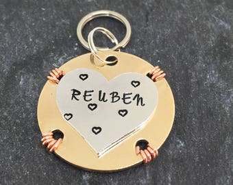 Dog id tag, id tags for dogs, custom made, hand stamped, pet id tag, pet supplies
