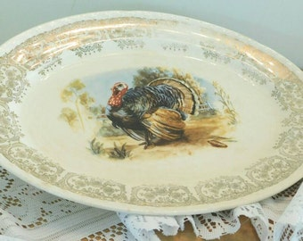 OVAL VINTAGE China Turkey Platter for Thanksgiving  & Christmas