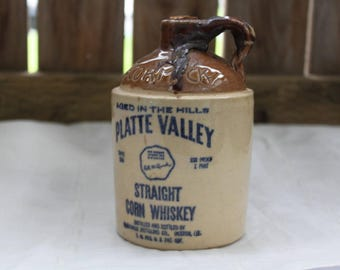 Mccormick Whiskey Jug Vintage 1960's Platte Valley Straight Corn Whiskey Stoneware Decanter 100 Proof Bottle Collectible Home Bar Decor
