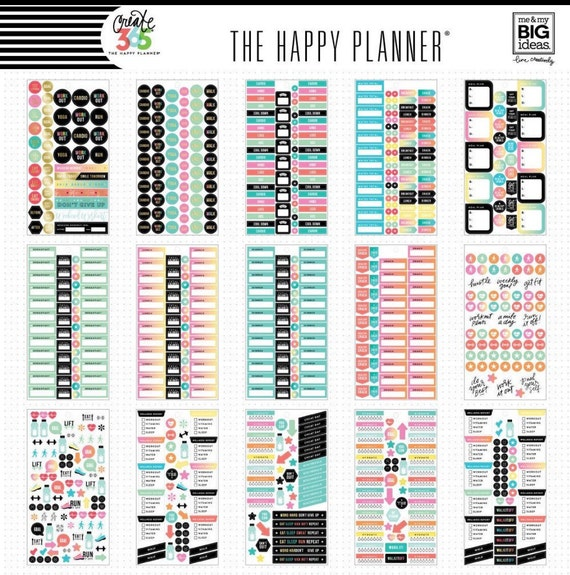 1475 pc 30 sheets happy planner fitness stickers for Happy planner accessories