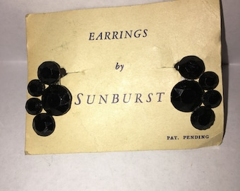 Black Glass Earrings by Sunburst - #35B