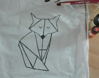 Kitbag origami Fox, hand painted