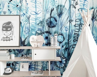 Watercolor horizontal thickets wall mural    Beautiful wallpaper for nurseries    Self adhesive    Reusable    Removable #58
