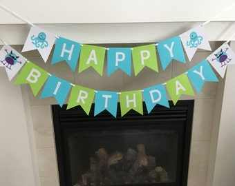 Monster Birthday Banner, Happy Birthday Banner, Boy Birthday Decoration, Blue Monsters, Monster Bash Party, Blue and Green, Photo Prop