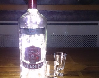 Smirnoff Vodka Bottle Light. Upcycled Bottle Lamp. Perfect Mood Lighting Gift For Women & Boyfriend Gift For Men. Upcycled Lighting