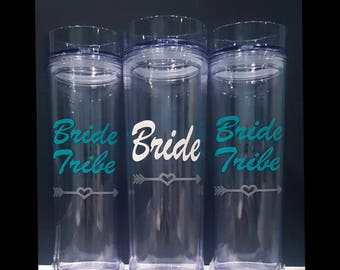 Bride Tribe Skinny Tumblers, Bridal party gifts, Bachelorette gifts, Bachelorette favor, Bridesmaid Gift, Bachelorette Party