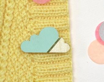 Cloud brooch Mint/gold