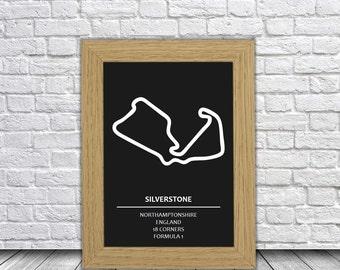 Silverstone Track Art | Race Circuit Race Track Artwork | F1 and Motorsport Race Tracks | Silverstone Circuit | Great Britain