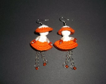 Earrings, crochet dolls