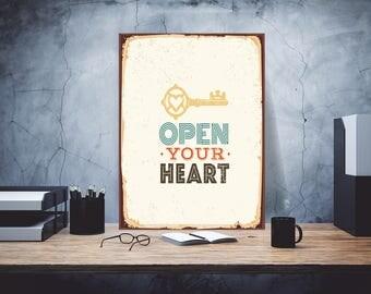 Open your heart, Metal sign, Custom metal sign, Custom sign, Room decor, Metal wall art, Metal art, Metal Signs, Metal custom sign, Signage