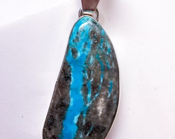 Sterling Silver & Turquoise Stone Pendant-Handmade