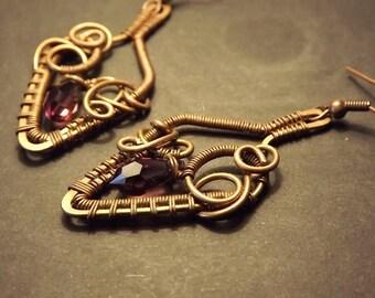 A pair of elegant handmade copper wire wrapped earrings with purple swarovski crystals, copper jewelry, Swarovski jewelry