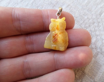 2,09gr Amulet Owl Butterscotch Genuine Baltic Amber 925 Str Silver Pendant
