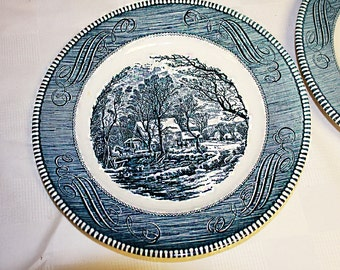 Currier and Ives Dinner Plates