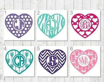 Monogram Heart Decal, Heart Decal, Personalized Heart Decal, Girls Heart Party Favors, Monogram Heart, Custom Heart Tumbler Decal