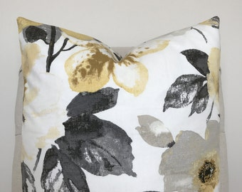 Yellow and Grey Floral Pillow Cover