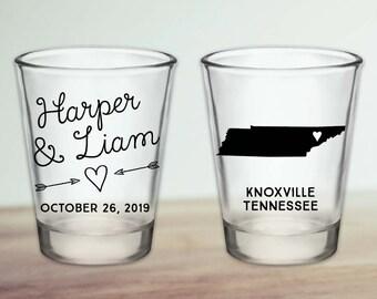 Custom Tennessee Wedding Favor Shot Glasses
