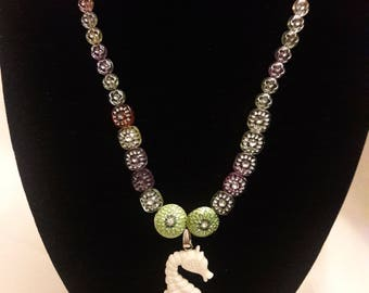 Cute beaded summer necklace with seahorse pendant