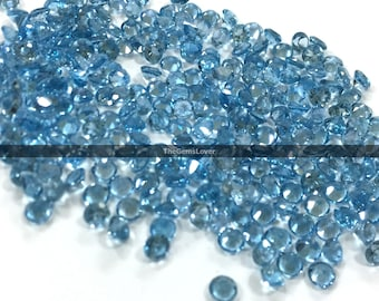 10 pieces 4mm Swiss Blue Topaz faceted round gemstone Faceted Blue Topaz round loose stone natural swiss blue topaz round faceted gemstone