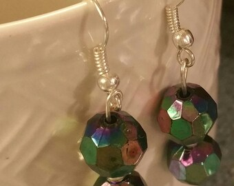Iridescent Glass Beaded Dangle Drop Earrings, Sterling Silver Hook