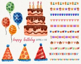 Happy Birthday watercolor birthday clipart