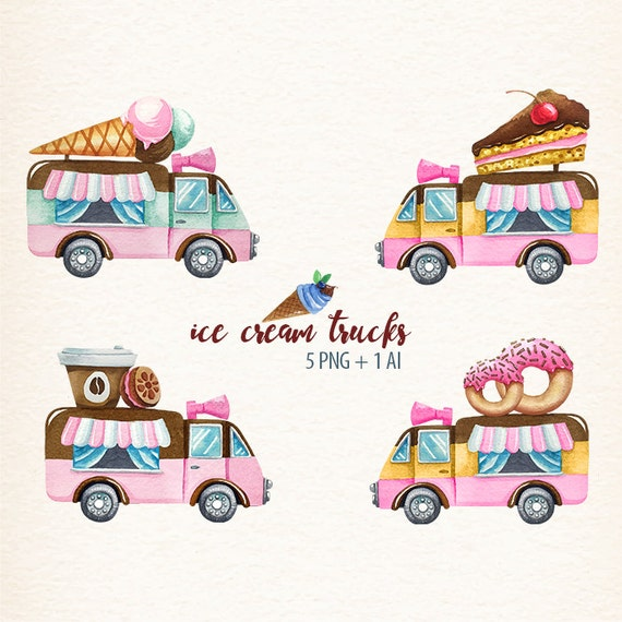 watercolor ice cream trucks ice cream clip art scrapbooking  watercolor ice ...