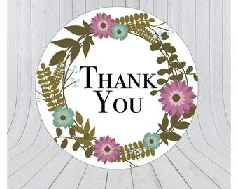 24 x Thank you stickers, thank you labels, Etsy packaging stickers, packaging stickers, packaging labels, wedding stickers, 066