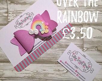 Over the rainbow hair bow