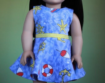 Sailor Dress ~ 18 inch doll clothes