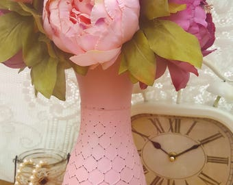 Shabby Chic Pink Vase, Cottage Chic, Vintage Vase, Pink and Gold, Antique Bee, Distressed Vase, Mother Day Gift, Birthday Gift, Wedding