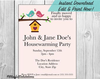 Housewarming Party Invitation - Editable - Instant Download