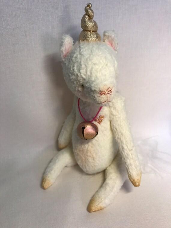"Handmad artist unicorn.  Teddy bear toy unicorn ""Belle"". Handmade, collectors toy."