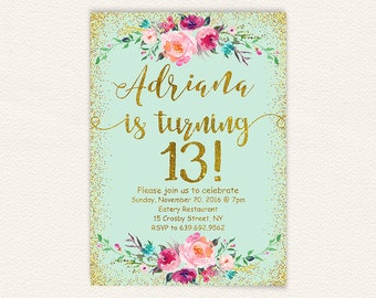 Turquoise gold glitter printable floral 13th birthday party invitation, birthday party invitations teen girl mint and gold, chic digital 1a