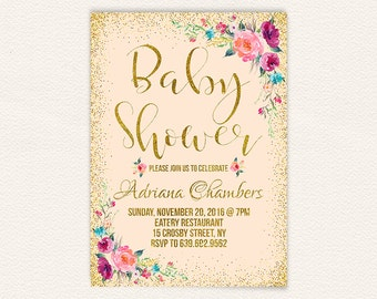Baby girl pastel coral floral baby shower invite, peach and gold baby shower invitation, printable baby shower invitation, 5x7 jpg 11a
