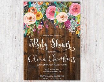 Shabby Chic Girl Invite, Rustic Floral Baby Shower Invitation, Pink Flower, Vintage Wood, Country Style, Boho Baby Sprinkle 30a